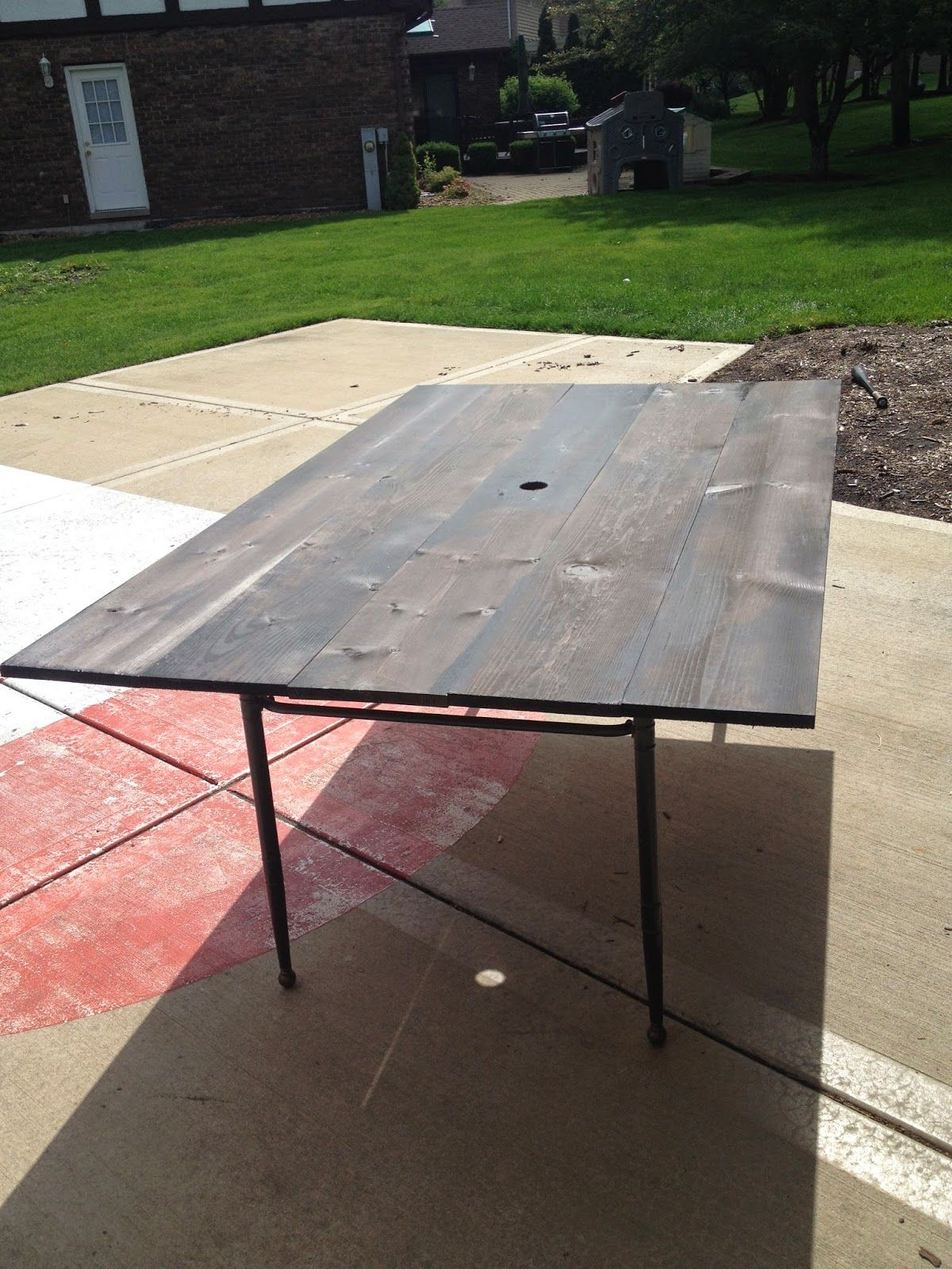 patio table. New DIY wood plank top. Using old aluminum table frame ...