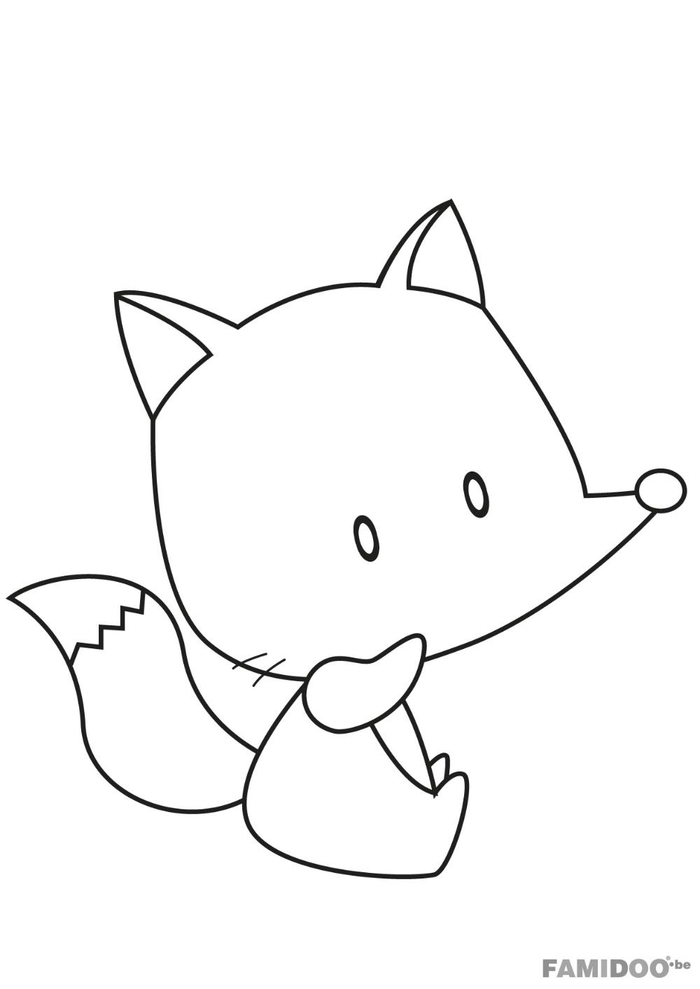 Coloriage Renard à colorier - Dessin à imprimer  Hello kitty