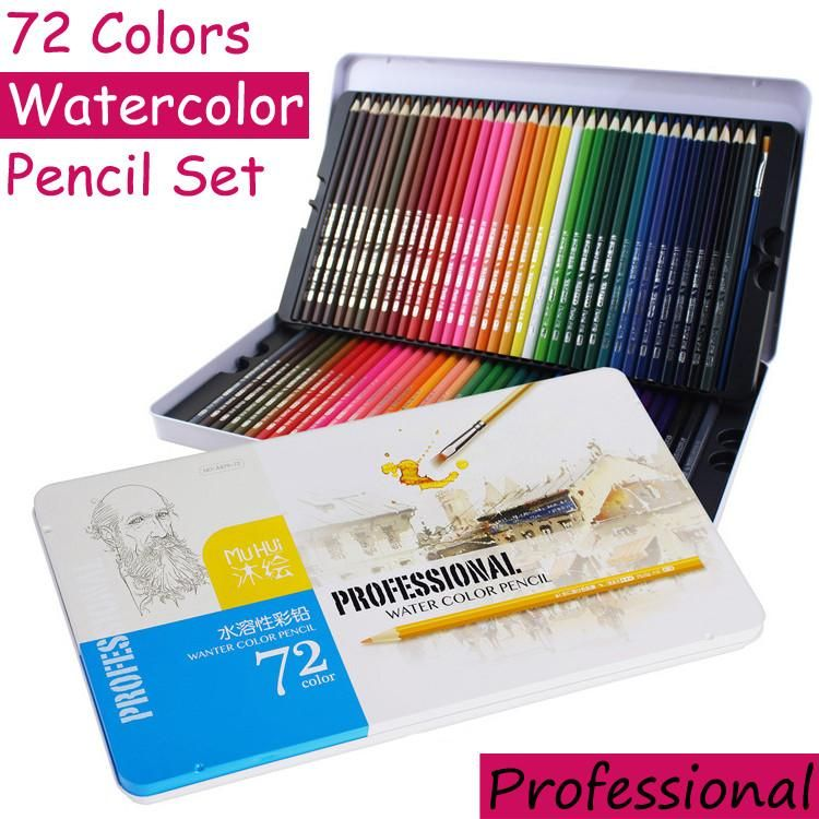 72 Colors Watercolor Pencils Set Professional Water Soluble Color