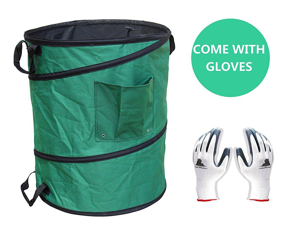 Gardzen 45 Gallon Professional Pop Up Garden Bag Come With Gloves Heavy Duty Reusable
