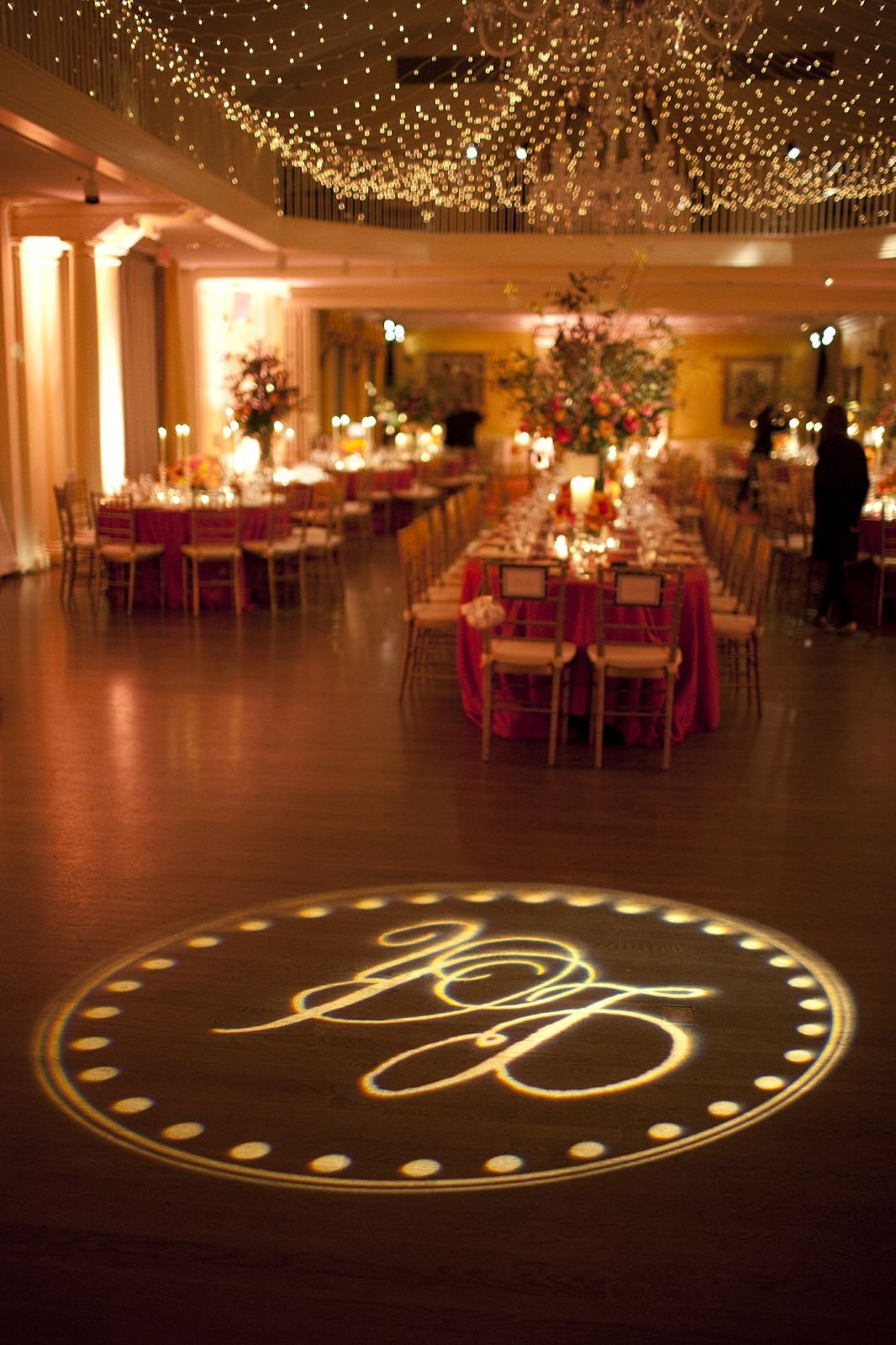 dance floor wedding monogramed gobo lighting