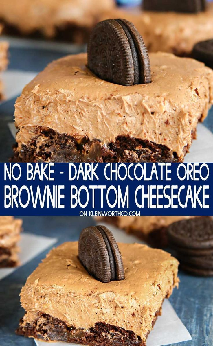 Dark Chocolate OREO Brownie Bottom Cheesecake is an easy dessert recipe   Whats For Dessert NoBake Dark Chocolate OREO Brownie Bottom Cheesecake is an easy dessert recipe...