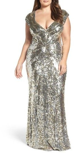 Plus Size Women\'s MAC Duggal Sequin Plunging V-Neck Gown - Evening ...