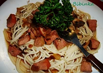 Photo of Spaghetti with smoked meat and mushrooms
