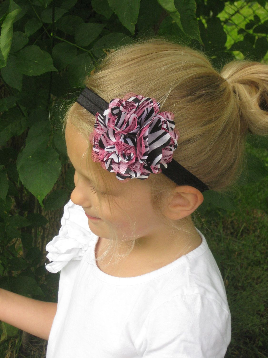 Fun Zebra and Hot Pink Tulle and Satin Flower by pinwheelsnpixies, $6.50