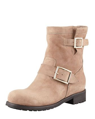 Youth Suede Biker Boot, Taupe by Jimmy Choo at Neiman Marcus.