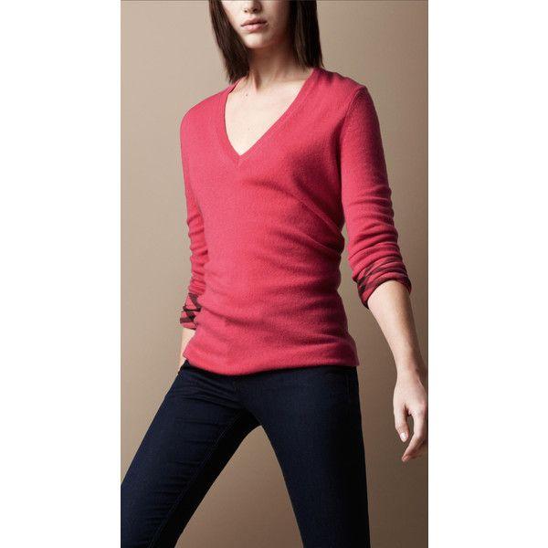 Burberry Check Cuff Cashmere Sweater ($395) Via Polyvore