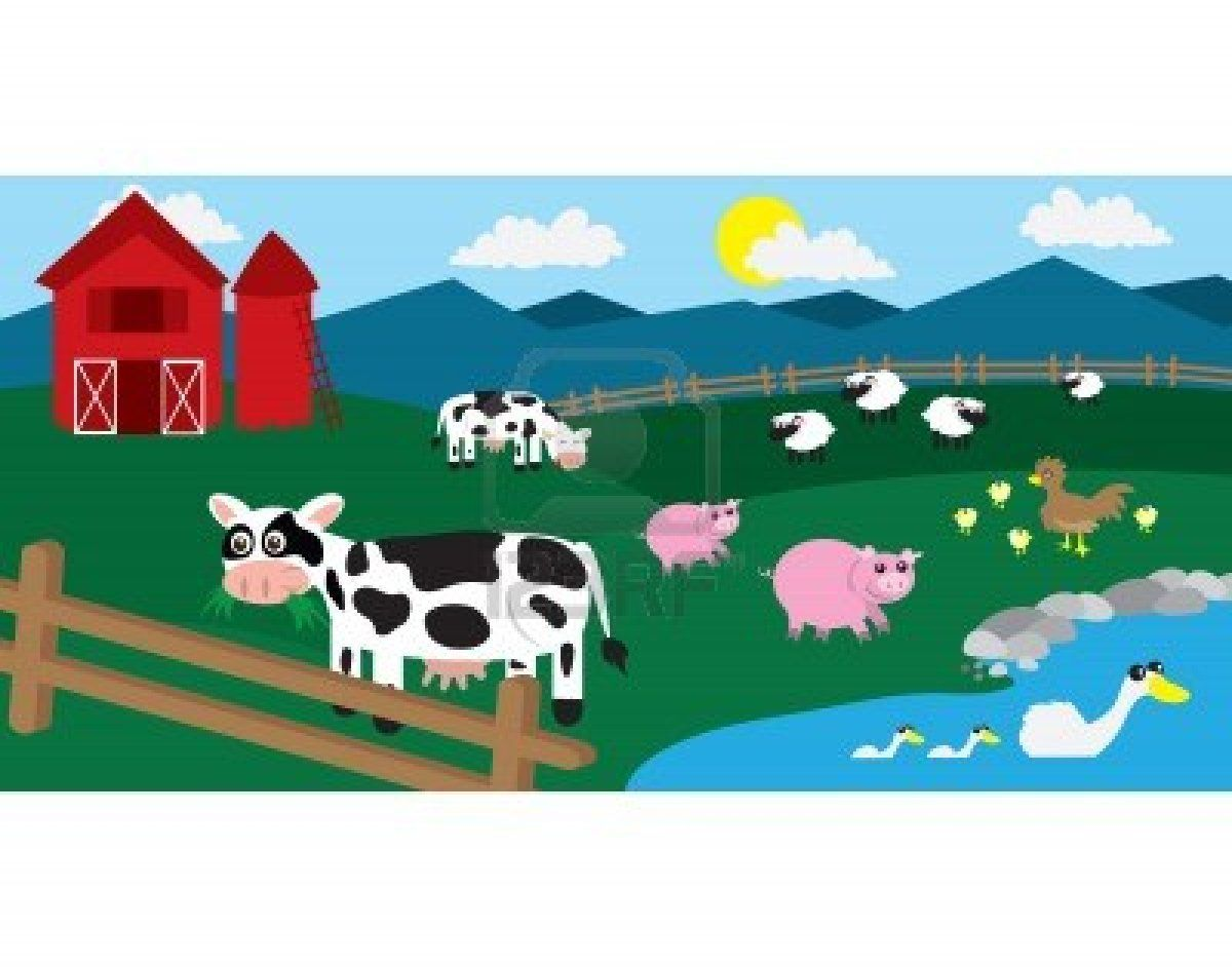 Cartoon Farm With Various Animals Throughout The Field Stock Photo Kids Room Murals Art For Kids Mural