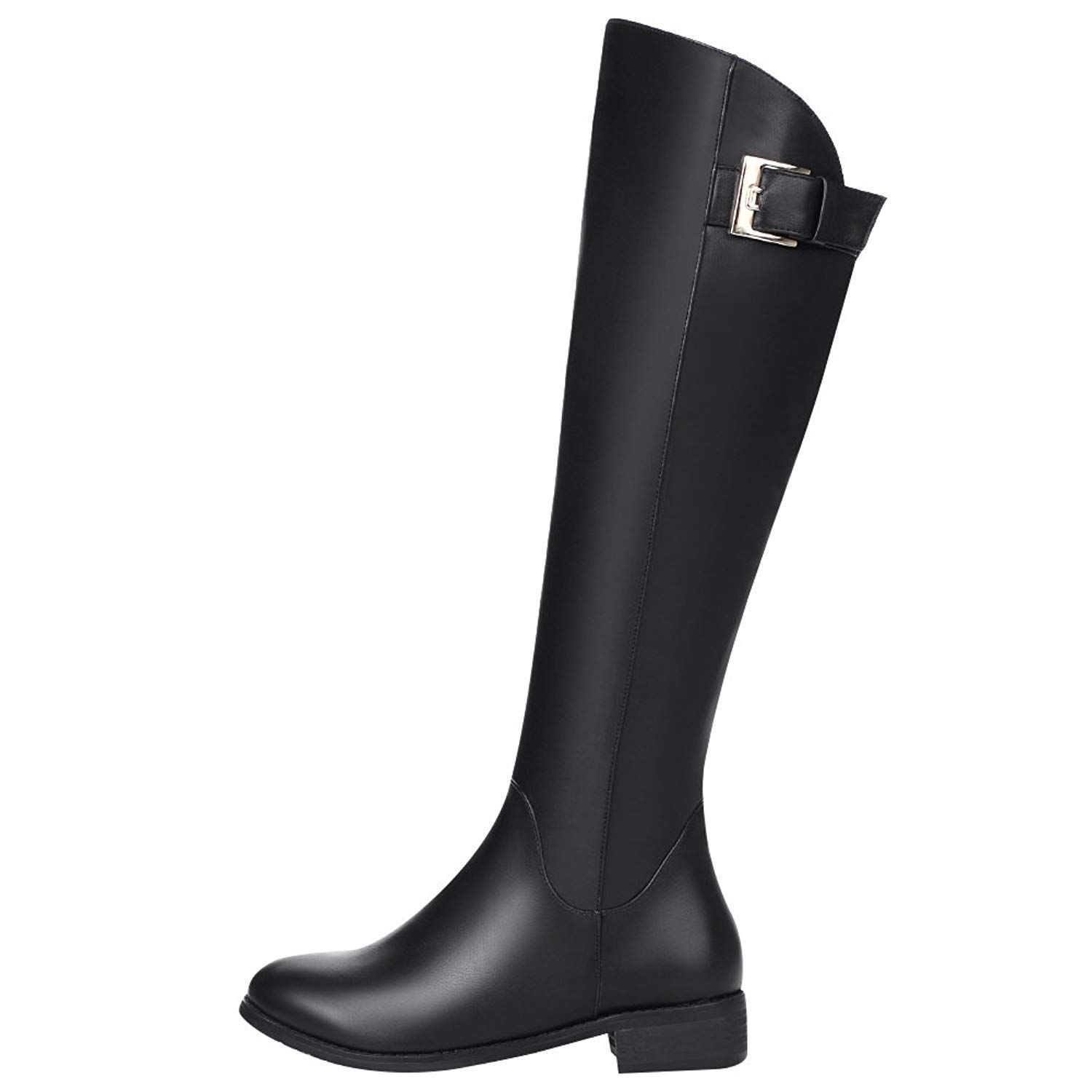0e661b8e2d6c Jamron Women Western Trendy Horse Riding Boots Stylish Chunky Heel Knee  Boots Water-proof Leather Zip Boots     For more information