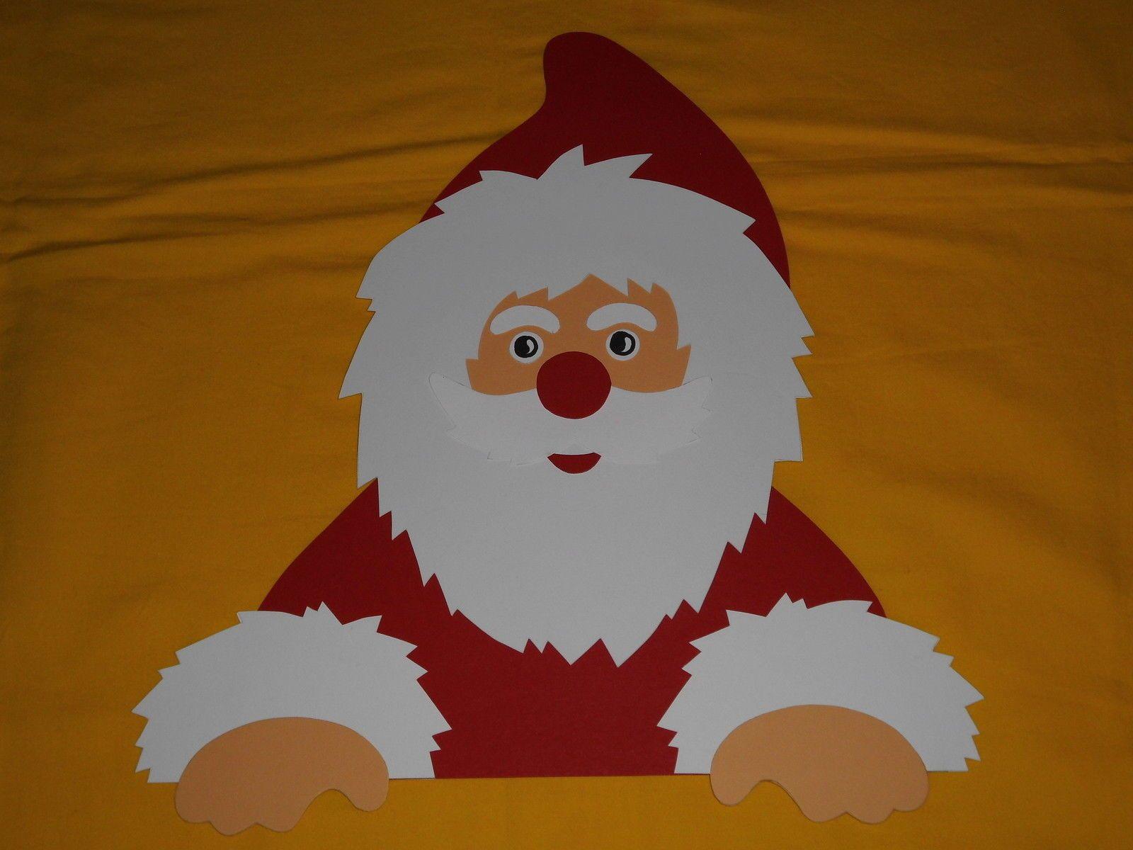 Fensterbild Tonkarton Winter Fenstergucker Nikolaus