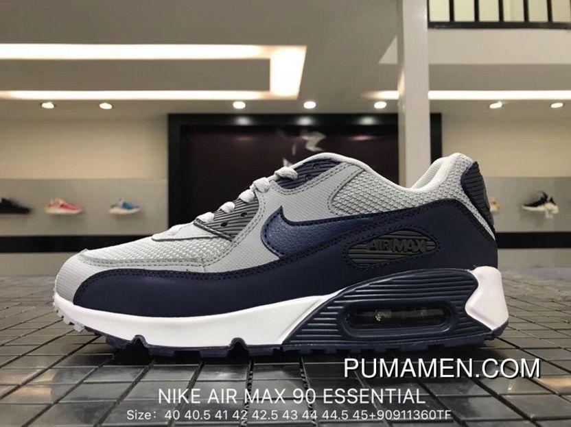 buy online ca1d9 9100b Nike Air Max 90 Essential 537384 064 Mens Retro Running Shoes Wolf Grey   Binary  Blue - Dark Grey - White Latest