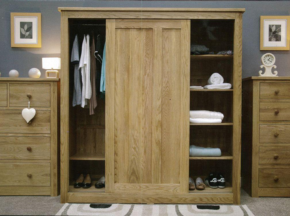Solid Oak Wardrobe With Sliding Doors Part Of Our Rustic Oak Bedroom Range Sliding Wardrobe Doors Solid Oak Bedroom Furniture Oak Cupboard