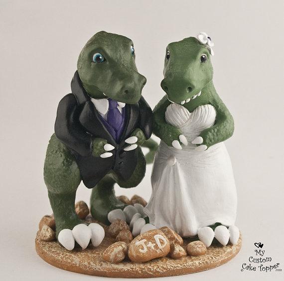 T Rex Dinosaur Wedding Cake Topper Cute Dino Bride And Groom Dinosaur Wedding Cake Toppers Dinosaur Wedding Funny Wedding Cake Toppers