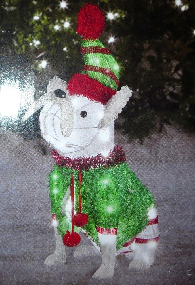 d22d8ddc0ba FRENCH BULLDOG PRE-LIT CHRISTMAS SCULPTURE YARD DECOR 24