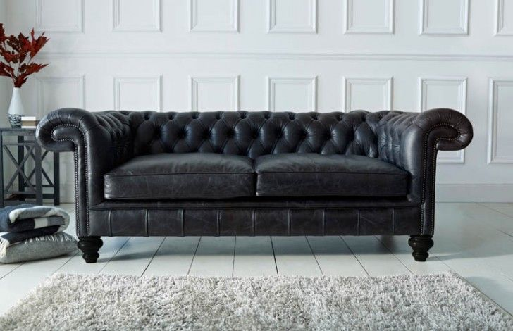 Paxton Black Leather Chesterfield | Chesterfield style sofa ...
