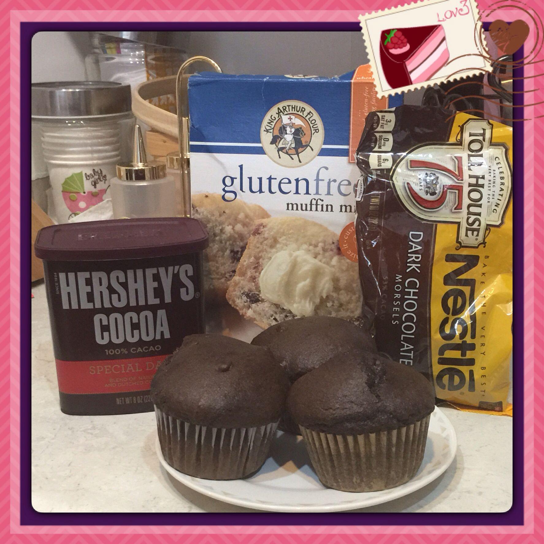 Double dark chocolate muffins glutenfree 1 box king