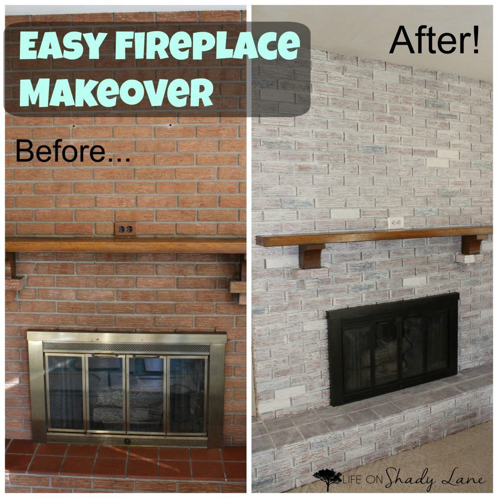 Whitewashed fireplace makeover easy diy avant apres in