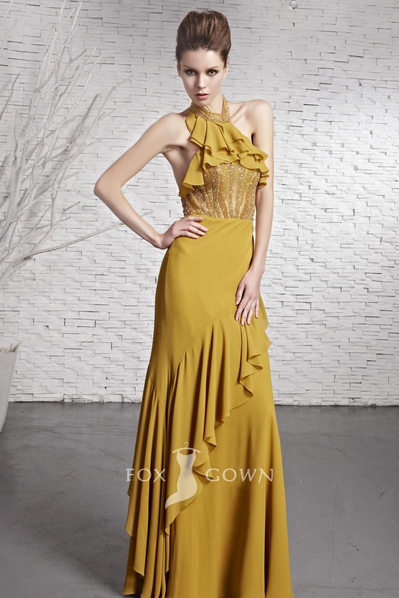 Modern yellow halter ruffle beaded bodice aline floor length formal