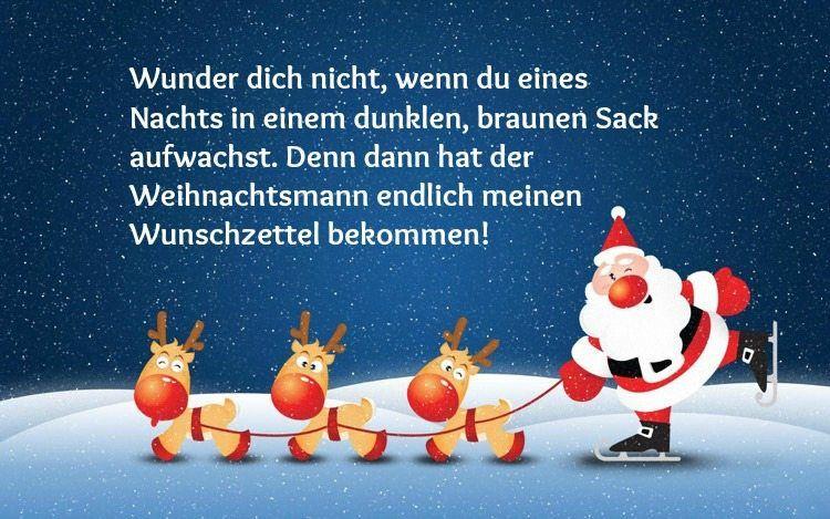 lustiger Weihnachtsspruch - Bild mit Weihnachtsmann und Renntieren ...
