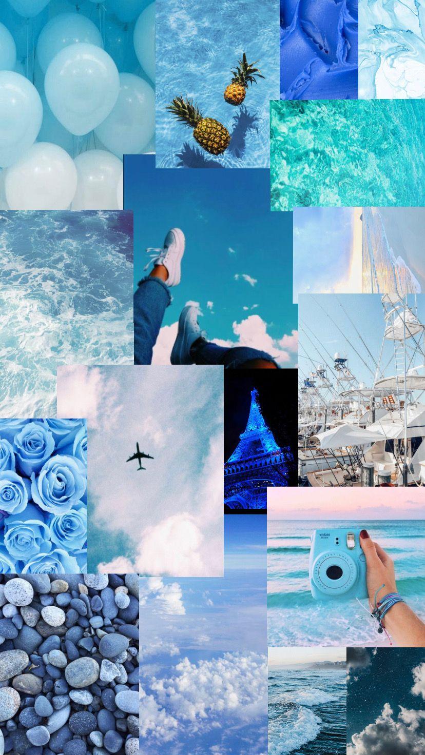 Blue aesthetic collage   Collage hintergrund, Hintergrund farbe ...