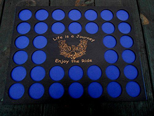 """Poker Chip Frame Display Insert, fits 36 poker/Harley chips, Life is a Journey, Enjoy the Ride, Born to Ride. Here is an affordable way to start or extend your poker chip collection. Our wood insert made of 1/8"""" (3 mm) Baltic birch holds 36 Harley-Davidson or standard casino poker chips. The insert reads Life is a Journey, Enjoy the Ride with Born to Ride in the middle of the flames and skull. The wood display insert measures 11"""" x 14"""" and will fit most store-bought frames from craft or..."""