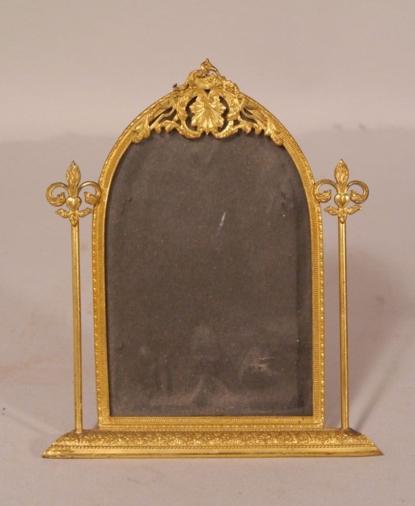 """Antique Gothic Bronze Picture Frame Arched 6"""", opening 4"""