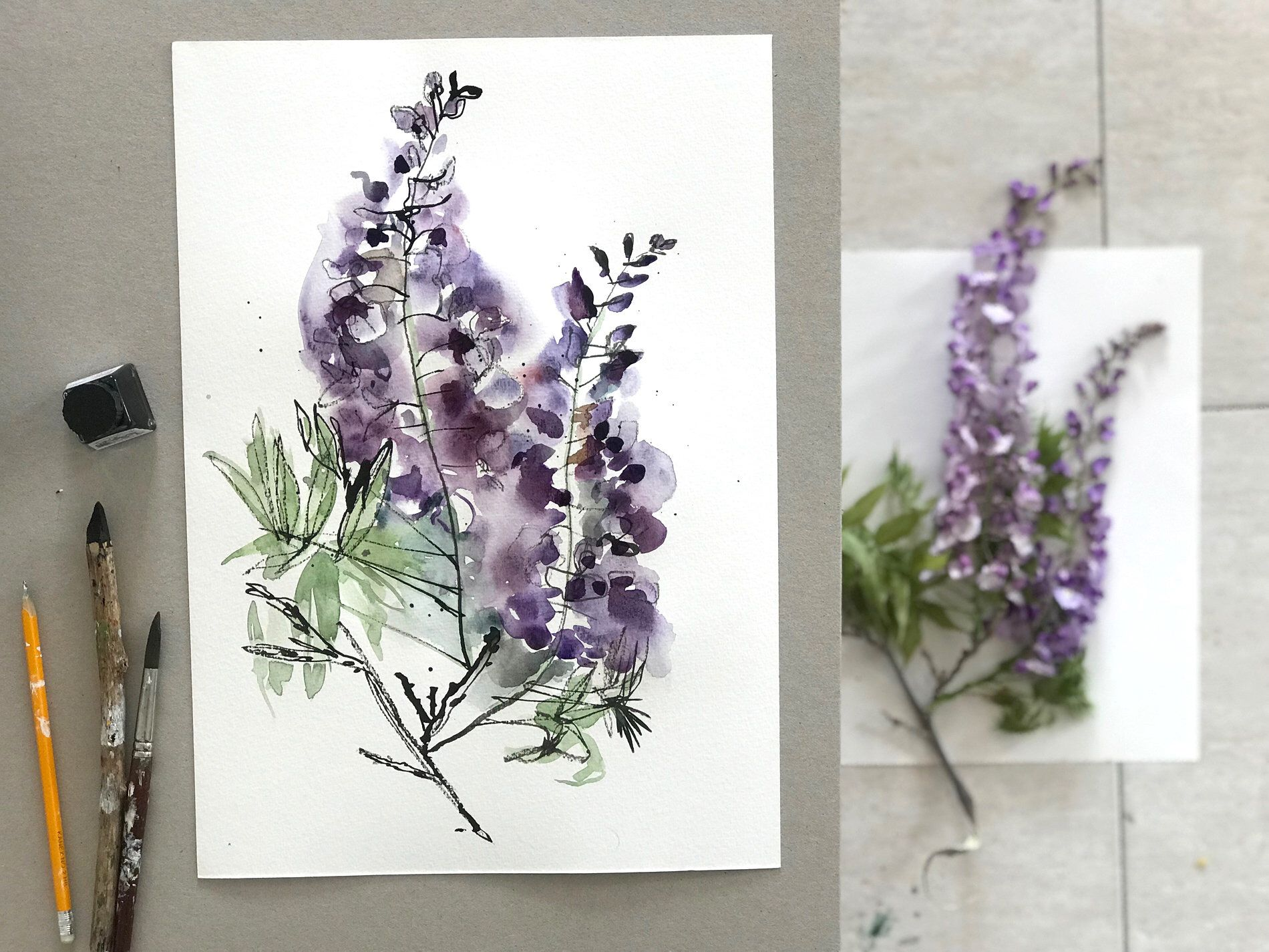 Wisteria Flowers Art Print Purple Flower Watercolor Painting