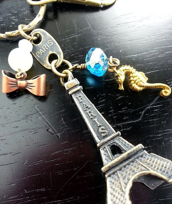 Petit Paris Seahorse Eiffel Tower KeyChain Brass Coco Paris Modern French Retro Bling Bow Pearl