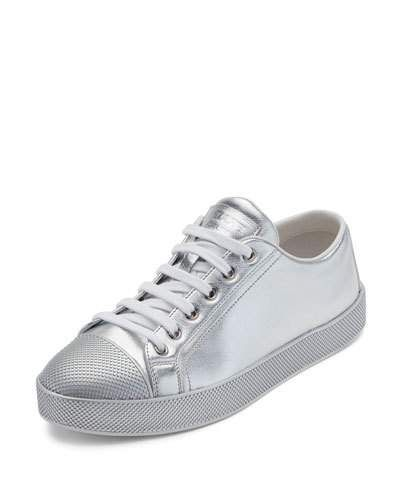 63536ecd Leather Cap-Toe Low-Top Sneaker Silver | Products | Prada sneakers ...