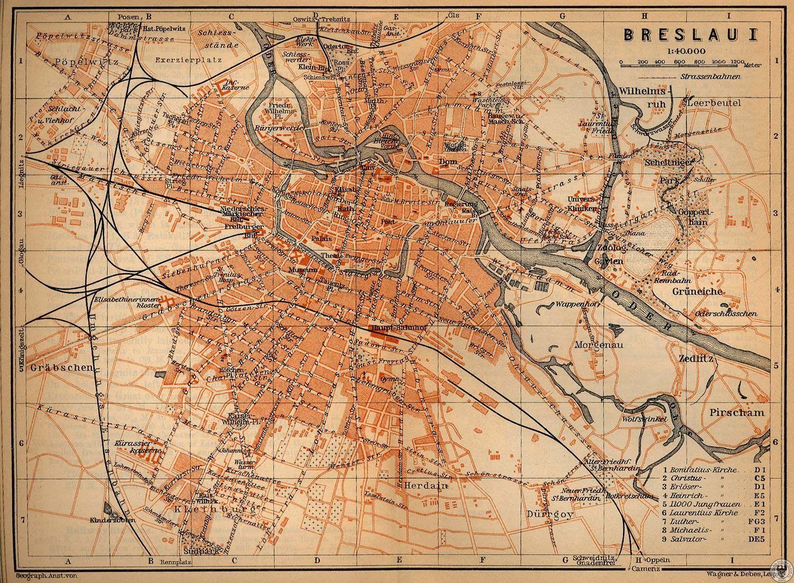 Breslau Karte 1930.Stadtplan Breslau Aus Den 1920er Jahren Deutschland