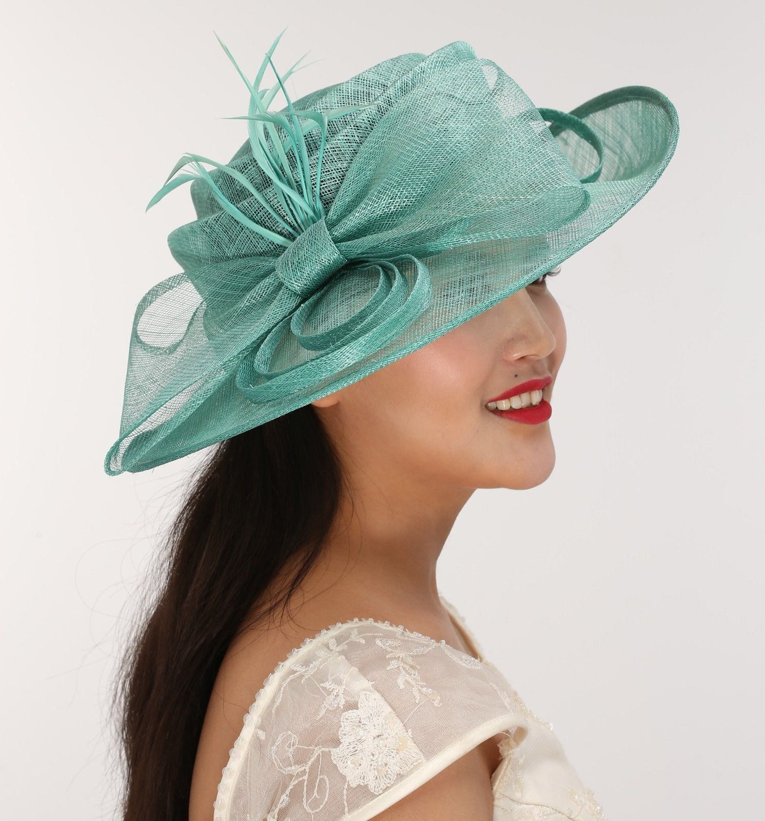 a49c3c2702c12 Church Kentucky Derby Carriage Wedding Tea Party Wide Brim Sinamay Hat  Turquoise