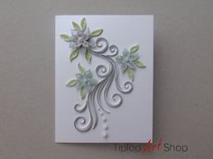 Paper quilling ooak blank wedding greeting card with handmade 3d paper quilling ooak blank wedding greeting card with handmade 3d paper flowers by tiptopartshop m4hsunfo