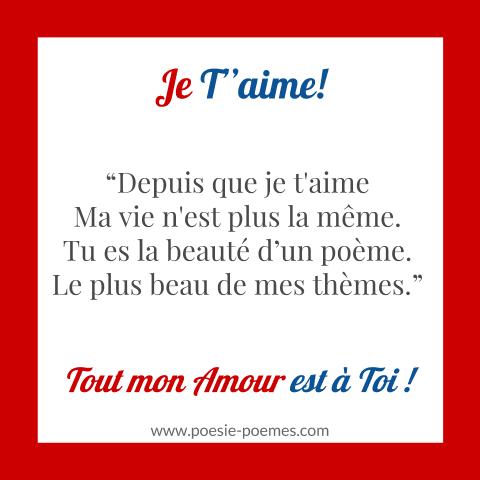 Modèle De Carte Damour Et Belle Citation Je Taime Mots