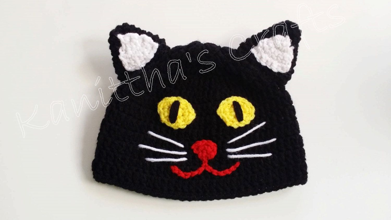 Crochet black cat costume Halloween hat,Crochet toddler hat,Adult ...