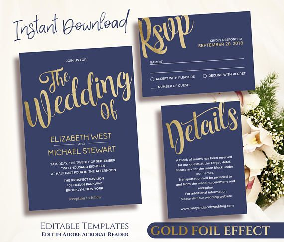 navy gold wedding invitation template printable gold and navy
