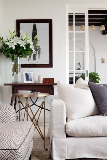 Cozy Living Room By Coco Republic. Gold Side TablesGold ...