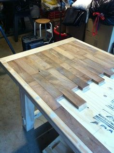 DIY wood plank kitchen table picture step by step ~ would also be really really awesome for kitchen counters!!! Stained black with high gloss protectant over them….. Hummmm….. | best stuff