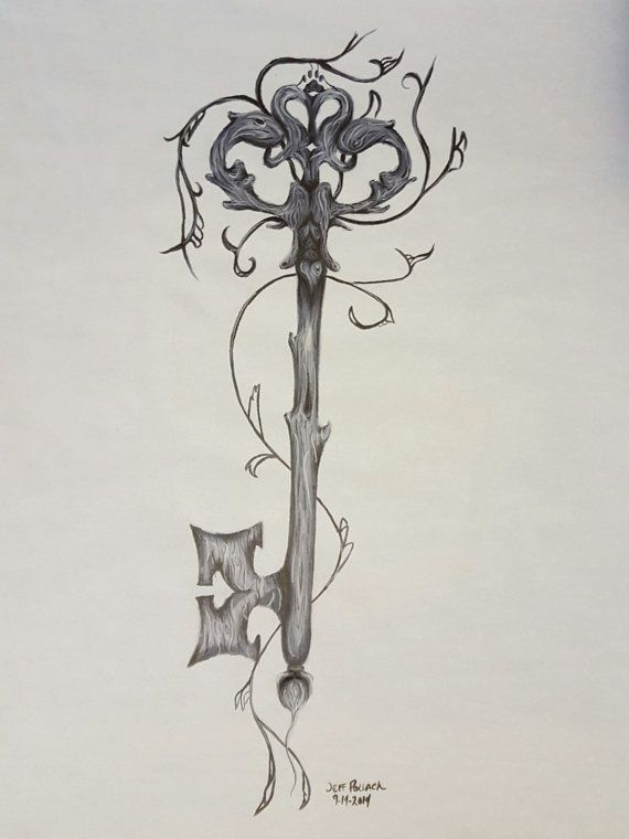 Marker Drawing Of Skeleton Key With Hearts And Paw Print Print 11x14 Key Tattoo Designs Key Drawings Skeleton Key Tattoo