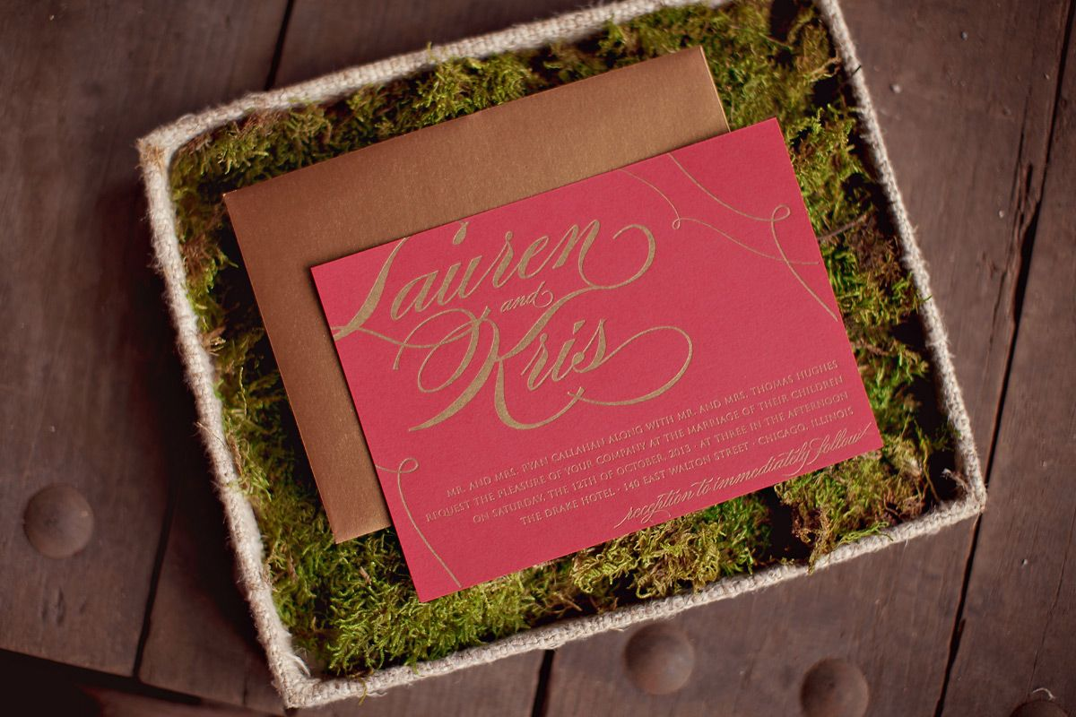 Red-Gold-and-Moss-Wedding-Invitation | Holiday table | Pinterest ...