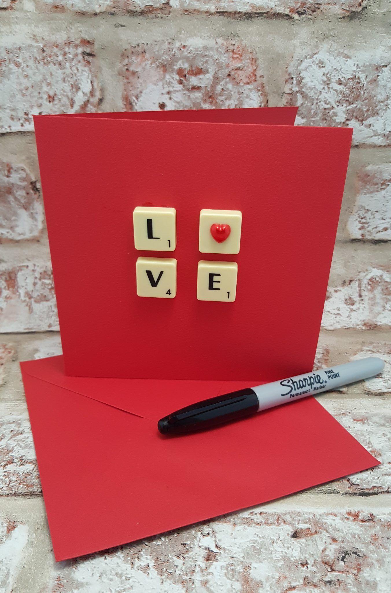 Love scrabble red valentine card girlfriend boyrfriend wife