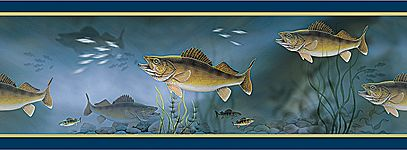 walleye fishing decor Walleye Fish Wallpaper Border