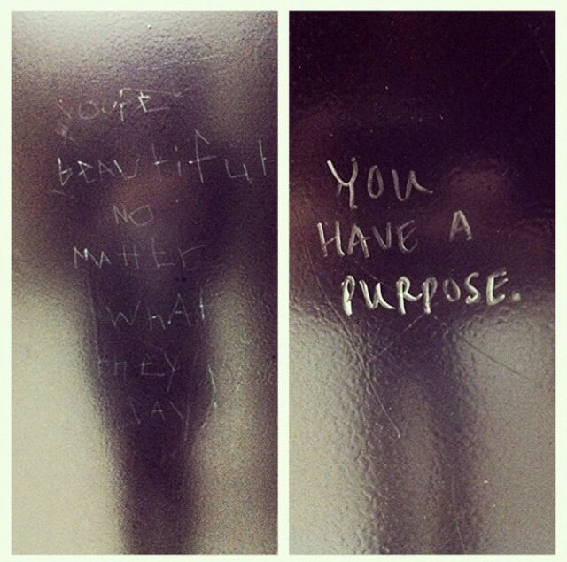 Saw these in the bathroom stalls of Burleson High. Surprisingly inspirational.