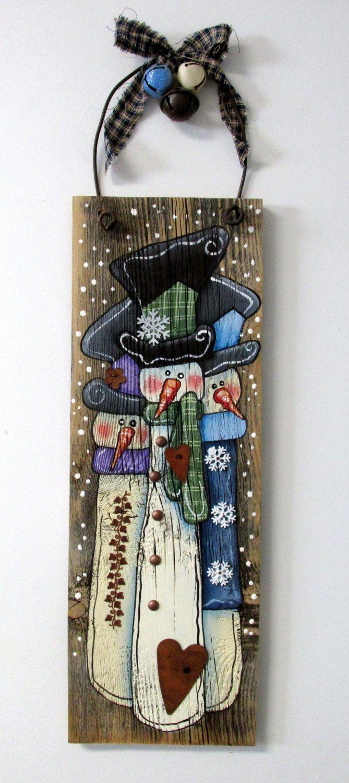Hand Painted On Barn Wood Three Snowmen By Barbsheartstrokes
