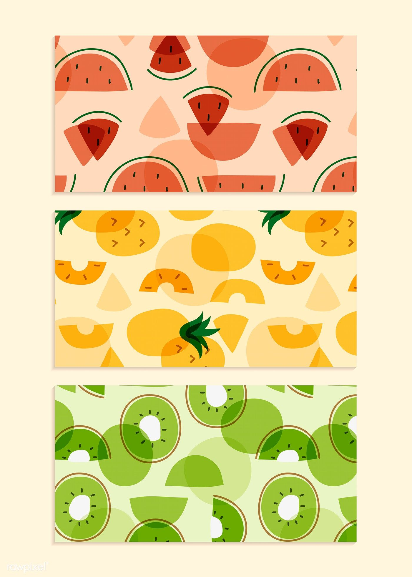 Tropical fruit pattern collection vectors | free image by rawpixel.com / busbus / NingZk V. #tropicalpattern