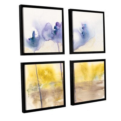 ArtWall Dream In Blue by Karin Johannesson 4 Piece Framed Painting Print on Wrapped Canvas Set Size: