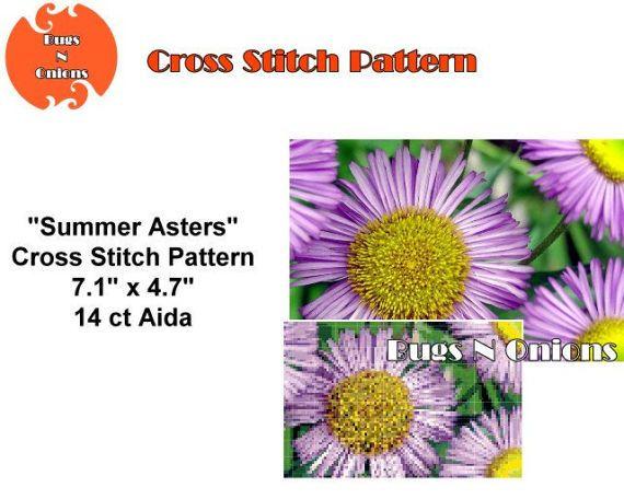 Summer Asters Cross Stitch Pattern PDF File by BugzAndOnions