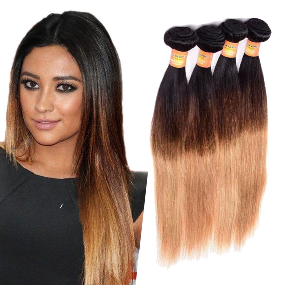 New 12 300g Real Human Hair Extension 1b427 Straight Hair Weft