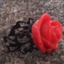 Adorable Red Rose Blossom Ring! Black adjustable brass ring. So sweet! Check out all the colors!