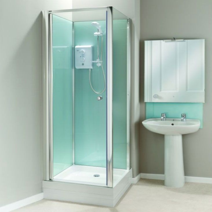 Coram Optima Corner Shower Cubicle with Electric Shower, 800mm x ...