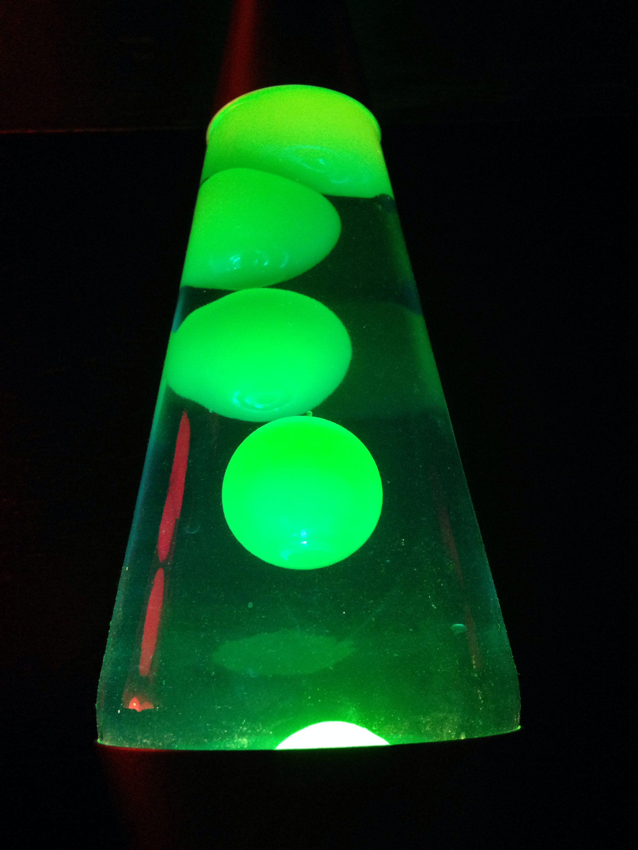 14 inch lava lamp. Blue liquid, green wax. Lava lamp